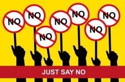 Właśnie mówić nie wektor, ręki trzyma Żadny etykietkę, ręka chwyt, przeciw Zdjęcie Stock