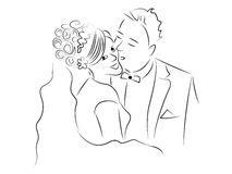 Właśnie pary małżeńskiej kreskówki wektor Obraz Stock