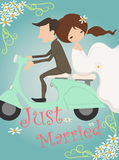 Właśnie zamężnego ślubnego zaproszenia karciany projekt Fotografia Stock