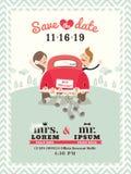 Właśnie zamężny samochodowy ślubny zaproszenie projekt Obraz Royalty Free