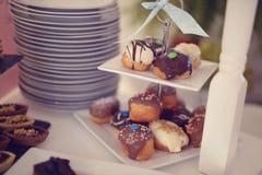 Wanilia i czekolada glazurated torty fotografia stock