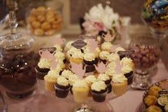 Waniliowe i czekoladowe babeczki zdjęcia stock