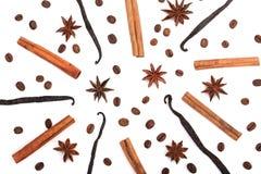 Waniliowi kije, cynamon, kawowe fasole i gwiazdowy anyż odizolowywający na białym tle, skład zdjęcie stock