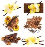 Waniliowi strąki z storczykowym kwiatem, czekolada, cynamonowi kije fotografia stock