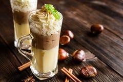 Waniliowy pudding z kasztanu puree i batożącą śmietanką Fotografia Stock