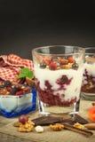 Waniliowy pudding z lato owoc na drewnianym stole Zdrowy przekąszać dla dzieciaków Fotografia Royalty Free