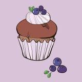 Waniliowy słodka bułeczka z czarnymi jagodami Zdjęcie Royalty Free