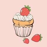Waniliowy słodka bułeczka z truskawkami Zdjęcia Stock