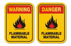 Waning and danger flammable material yellow signs Stock Image