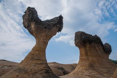 Wanli District, New Taipei City, Taiwan Yehliu Geopark and fishtail mushroom-shaped rock strange rocky landscape Stock Photography
