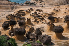 Wanli District, New Taipei City, Taiwan Yehliu Geopark mushroom-shaped rock, Jiang Shiqi special landscape reef area Royalty Free Stock Photos