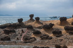 Wanli District, New Taipei City, Taiwan Yehliu Geopark strange rocky landscape Stock Photos