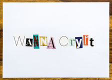 Wanna Crypt - note on desk Royalty Free Stock Image