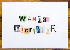 Wanna Decryptor - note on desk Stock Image