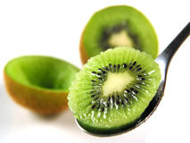 Wanna have some kiwi?. Just say ahhhhh... yummy Stock Image