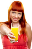 Wanna orange juice? Stock Image
