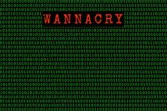 Wannacry и бинарный код безопасность wannacry и ransomware концепции Стоковое Фото