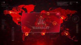 WannaCry Alert Warning Attack on Screen World Map Loop Motion.
