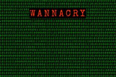 The wannacry and binary code. the wannacry and ransomware concept Security. Stock Photo