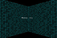 WannaCry lurk in the binary code. On a black background Stock Photography