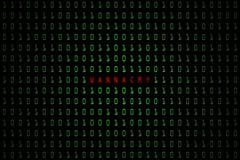 Wannacry ord med digitalt mörker för teknologi eller svartbakgrund med binär kod i ljus - grön färg 1001 Arkivbild
