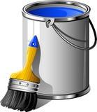 Wanne des Lackes und des Malerpinsels Lizenzfreie Stockfotos