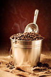 Wanne Kaffeebohnen Lizenzfreies Stockfoto