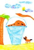 Wanne Nahrung für Hunde. Zeichnung des Kindes Lizenzfreie Stockfotos