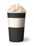 Wanne Popcorn auf weißem Hintergrund. graue Farbe Stockbild