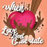 Wanneer de liefde chocolade ontmoet Stock Foto