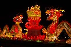 De lantaarn van het nieuwjaar toont de draaktotem stock fotografie