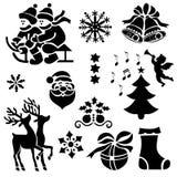 Wanneer Kerstmis Dichtbijgelegen is en Zijn Stemming is overal Seizoengebonden Pictogrammen stock illustratie