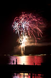 Wannsee in Flammen. Beautiful fireworks display at Wannsee in Flammen in Berlin stock photography
