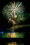 Wannsee in Flammen. Beautiful fireworks display at Wannsee in Flammen in Berlin royalty free stock photos
