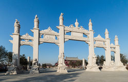 Wanshou temple in changchun, stone arch. Northeast China changchun wanshou temple outside the stone memorial arch, arch is spectacular, carving exquisite, is a Royalty Free Stock Photo