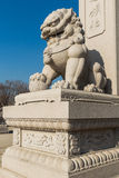 Wanshou temple in changchun, stone lions. The stone lions outside Chinese wanshou temple in changchun, jilin province, its modelling is straightforward, carving Stock Images