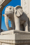 Wanshou temple stone elephant. Northeast China stone elephant outside of Beijing art museum, the modelling of primitive simplicity is grave, of religious Royalty Free Stock Image