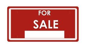 Want de verkoop op een rode plaat van wegwijzers voorziet Royalty-vrije Stock Foto