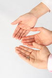 We want more - Hands closeup three Stock Photos