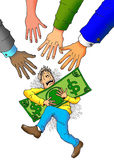 They Want My Money. A Lot of Hands Going For a Man's Money Royalty Free Stock Images
