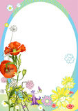 Want summer. Design frame of varios flowers and decorativ elements Stock Image