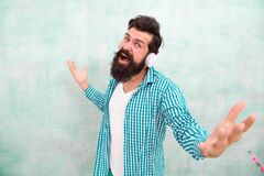 Free Want To Be Singer. Full Of Inspiration. Stay Creative And Stylish. Happy Brutal Male In Earphones. Summer Playlist Mood Royalty Free Stock Images - 212845759