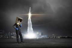 He want to become astronaut . Mixed media Royalty Free Stock Image