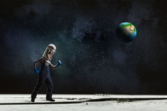 He want to become astronaut . Mixed media Stock Image