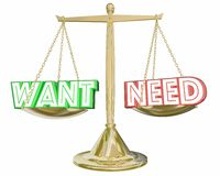 Want Vs Need Scale Compare Priorities Budget Spending 3d Illustr. Ation Royalty Free Stock Image
