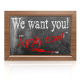 We want you Apply now text written on blackboard Royalty Free Stock Image
