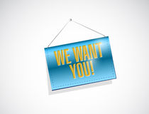 We want you banner sign illustration design Royalty Free Stock Photo