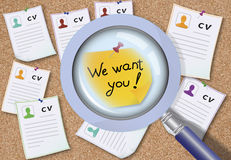 We want you. Caption We want you on the board with a lot of CVs. The concept of uniqueness Stock Photos