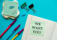 WE WANT YOU CONCEPT. Office workplace top view, copy space. Flat lay office table desk.Labor market concept. Job vacancy,new. Recruitment, trainee, occupation royalty free stock photography