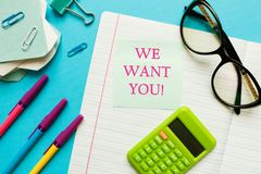 WE WANT YOU CONCEPT. Office workplace top view, copy space. Flat lay office table desk.Labor market concept. Job vacancy,new. Recruitment, trainee, occupation stock image